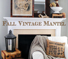 fall vintage mantel, seasonal holiday d cor, Our Fall Vintage Mantel