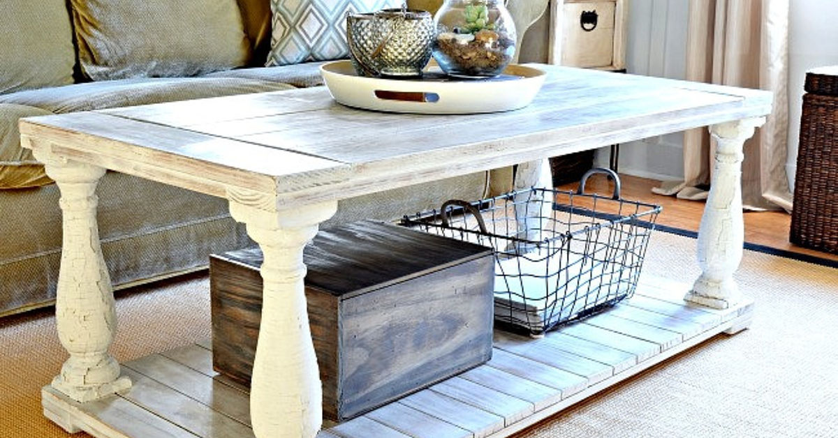 Restoration hardware knock off salvaged wood balustrade coffee table hometalk Farm style coffee tables