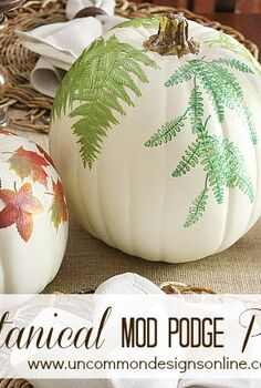 love nature make these botanical pumpkins and bring some inside, crafts, decoupage, seasonal holiday decor, DIY Botanical Pumpkins 2 steps