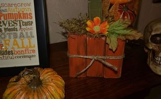 a cute easy fall craft with 1x3 s or 2x4 s, crafts, easter decorations, seasonal holiday decor, woodworking projects, Mine complete and put up in the house The smaller one