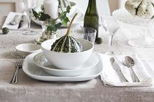 fall table setting, seasonal holiday decor, Simple white china on a linen table cloth paired with a green pumpkin welcomes Fall to the table