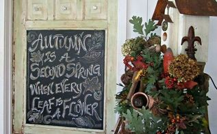 chalkboard door fall quote, repurposing upcycling, seasonal holiday d cor