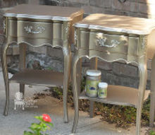 metallic painted french provincial nightstands, painted furniture