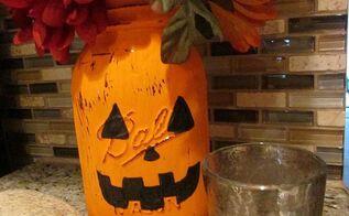 pumpkin mason jar, crafts, halloween decorations, mason jars, repurposing upcycling, seasonal holiday decor