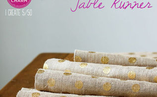 no sew gold dot burlap table runner, crafts, seasonal holiday decor, Fabulous and so simple Inspired by Charm 31daysofhome