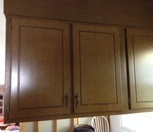 q old 70s wood cabinets need makeover, home maintenance repairs, kitchen cabinets, painted furniture, woodworking projects, they are darker looking in real life