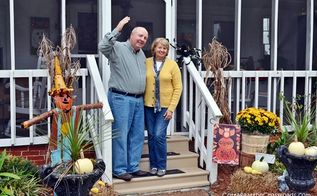 a country cottage s fall porch tour, decks, porches, seasonal holiday decor, wreaths, Hi We re Jane and Leo from the Cottage at the Crossroads