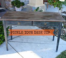 paint that looks like wood and pickled finish, painted furniture, Makeover any kind of wood even MDF With CeCe Paints and an easy Pickling Solution Gives a new desk a rich Vintage look