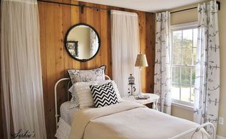girls budget bedroom makeover, bedroom ideas, home decor, Working around existing wood paneled wall I softened the look for a young girl with inexpensive sheer panels