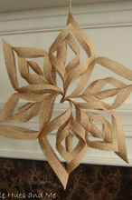 burlap 3d snowflakes, crafts, decoupage, seasonal holiday decor, Using burlap mod podge scissors and hot glue