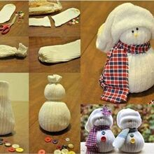 sock snowman, crafts, repurposing upcycling, seasonal holiday decor