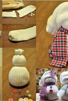 sock snowman, crafts, repurposing upcycling, seasonal holiday decor
