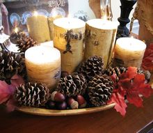 using my grandmother s dough bowl in fall decor, seasonal holiday d cor, thanksgiving decorations, This year it has a Pottery Barn inspired look filled with pine cones birch candles acorns and fall leaves