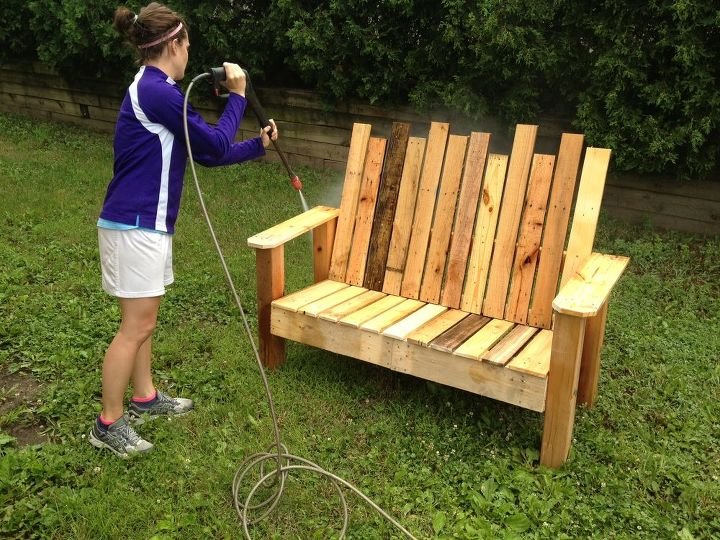 Repurposed Pallet Into A Do It Yourself Bench Hometalk