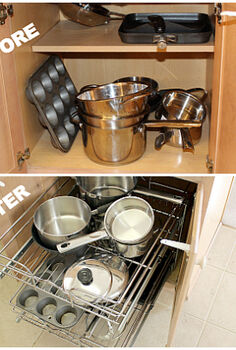 a proven system for kitchen cabinet organization, kitchen cabinets, kitchen design, organizing, Before and After using the Rev A Shelf
