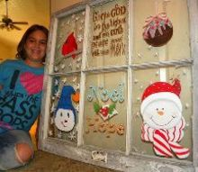 recycle an old window, crafts, repurposing upcycling, We finished our Christmas window decoration It was a lot of fun