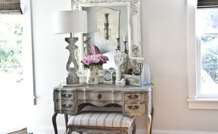 make bargain mirrors rock, painted furniture, repurposing upcycling, Here you can see the Hobby Lobby mirror after I painted and waxed it It s hanging above a vintage vanity that I antiqued using a very similar method