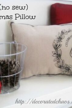 easy no sew holiday pillows, christmas decorations, crafts, seasonal holiday decor, No sew Christmas pillow using a place mat adds warmth and softness to our mud room bench