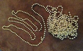 repurposing dead mardi gras beads 101 bead garland, christmas decorations, repurposing upcycling, seasonal holiday decor, Gold Bead Garland from Dead Mardi Gras Beads