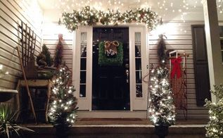 decorated the front door today, decks, seasonal holiday decor, My entryway Rakes are still out and our windows were open yesterday afternoon Tonight Snowstorm