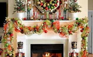 our 2013 christmas mantel, christmas decorations, seasonal holiday decor, wreaths, I brought our Nutrackers from Christmas past back this year