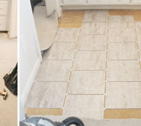 peel stick floor tile bathroom how to remove and from concrete grouted vinyl ideas on basement