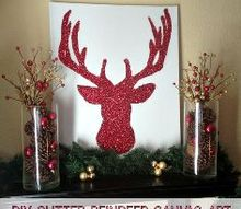 diy glitter reindeer canvas art, christmas decorations, crafts, decoupage, seasonal holiday decor, I love how my DIY red glittered reindeer silhouette adds sparkle to my Christmas shelves