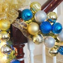 a step by step of how to create glitzy garlands the dedicated house, christmas decorations, seasonal holiday decor, stairs, 1 Wrap your garland in your choice of lights I prefer white 2 Wrap your garland in your choice of ribbon