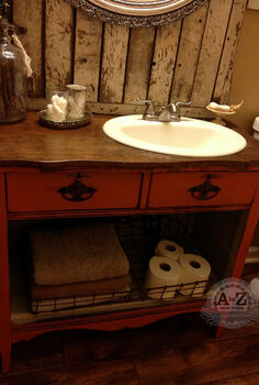turning a dresser into a bathroom vanity, bathroom ideas, painted furniture, repurposing upcycling, small bathroom ideas