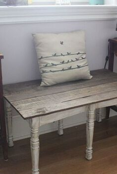 from dinning room chairs to bench, painted furniture, repurposing upcycling