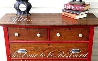 ruby red antique oak dresser, painted furniture, Ta dah