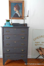 charcoal gray and brass antique dresser, painted furniture