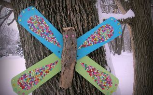 diy bling butterfly from upcycled fan blades, crafts, outdoor living, repurposing upcycling
