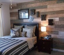 faux plank wall, bedroom ideas, home decor, wall decor