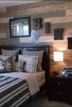 faux plank wall, bedroom ideas, home decor, wall decor