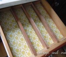 diy utensil drawer organizer, diy, organizing, A bit of vintage Contact paper adds a pretty touch
