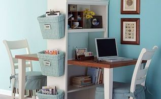 6 considerations when decorating a small space, home decor, shabby chic, Using a bookshelf and a longer table to make a desk Great thinking