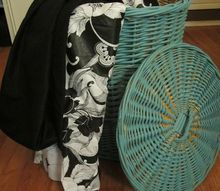 storage ideas, storage ideas, Re purposed thrift store basket now given a new life to store my extra fabric
