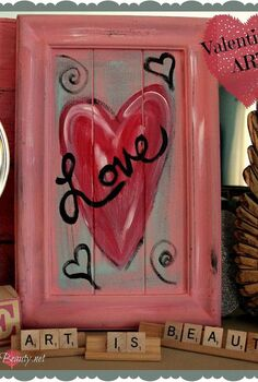 quick and easy valentine artwork using and old cupboard door, crafts, repurposing upcycling, seasonal holiday decor, valentines day ideas, Finished Valentines Heart Artwork on Old cupboard door