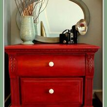come see this firecracker of a makeover on this nightstand, bedroom ideas, home decor, painted furniture, Finished Painted firecracker red nightstand makeover