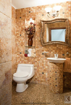 modern powder room, bathroom ideas, home decor, Warm earth tones with varied texture in combination with small tiles design feel more sophisticated and rather unexpected A funky mirror and alcove add interest