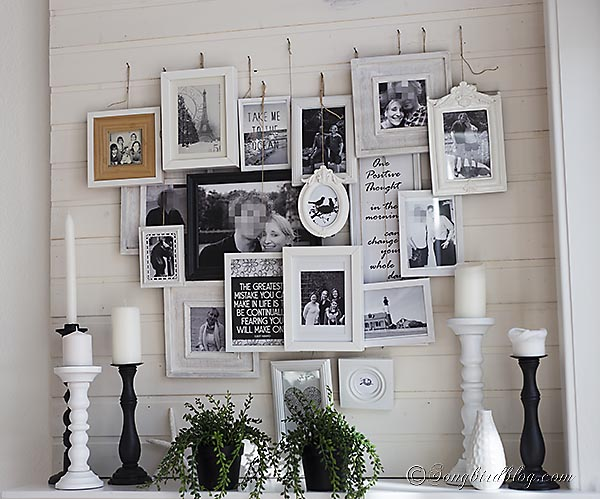 Layered photo frames mantel a different kind of gallery for Different home decor