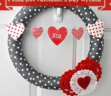 polka dot valentine s day wreath, crafts, seasonal holiday decor, valentines day ideas, wreaths, I always try to change out the wreath for my front door for each season or holiday