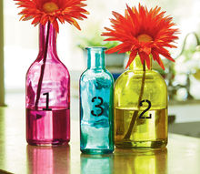 stenciled colored bottle vase set, crafts, home decor, painting, Stenciled Colored Bottle Vases materials list
