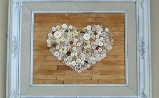 old frame repurposed with faux pallet button heart art, crafts, repurposing upcycling, seasonal holiday decor, The final product
