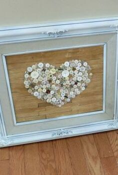 old frame repurposed with faux pallet button heart art, crafts, repurposing upcycling, seasonal holiday decor, Old frame repurposed into faux pallet button art