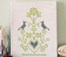 cross stitch on canvas, crafts, home decor, The burlap makes a natural grid to follow making cross stitch a breeze