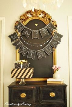 happy birthday chalkboard banner for the hometalk and michaels, chalkboard paint, crafts