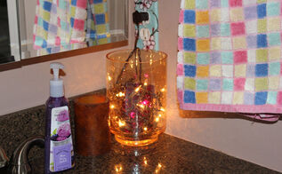 glass jar lighting, bathroom ideas, crafts, home decor, lighting, The final results What a warm and beautiful glow this provides