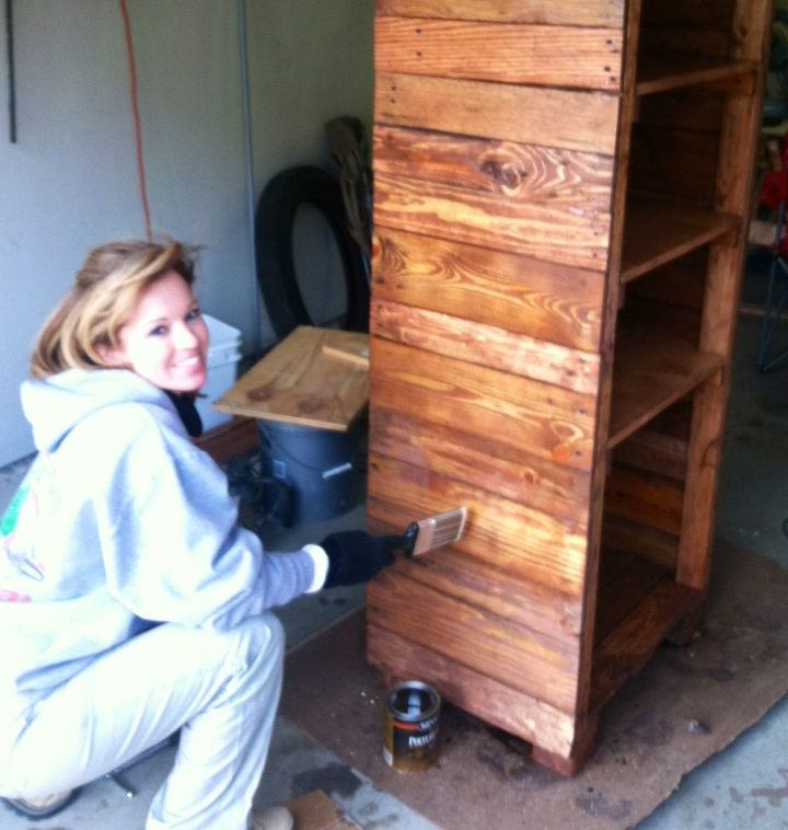 Pallet wood converted to beautiful shelves hometalk for Making storage shelves out of pallets